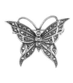broa-din-argint-butterfly-marcasite